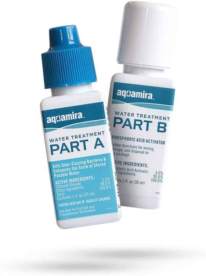 bottles of part A and part B of Aquamira water treatment