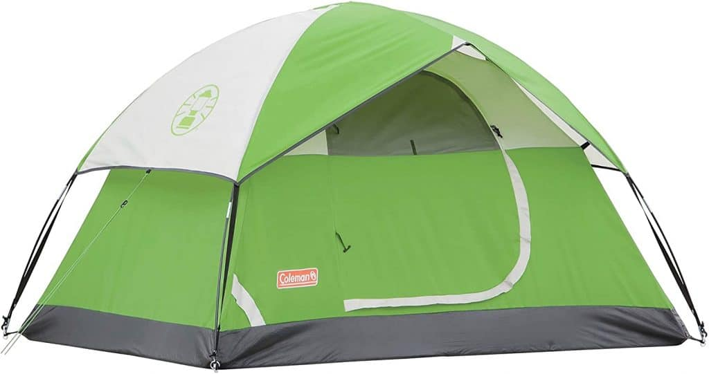 Green and white Coleman Sundome Tent
