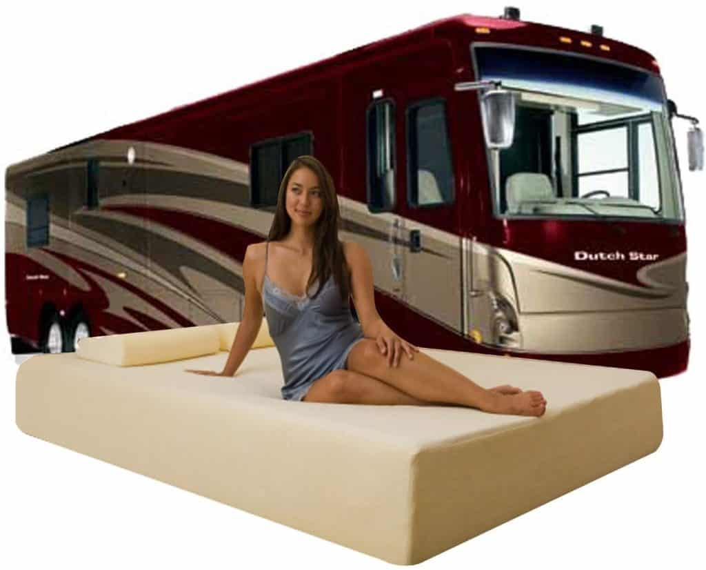 Woman sitting on Dynasty Mattress Deluxe with Dutch Star car behind