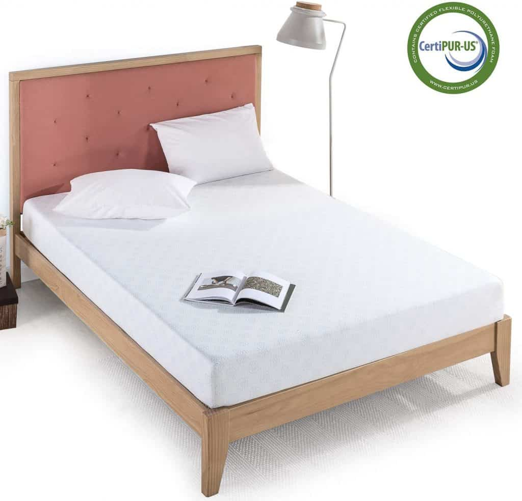 Zinus Gel Infused green tea mattress with pillow and side lamp shade