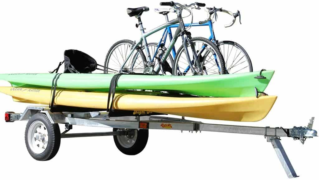 ruff sport trailer carrying bicycles and kayaks