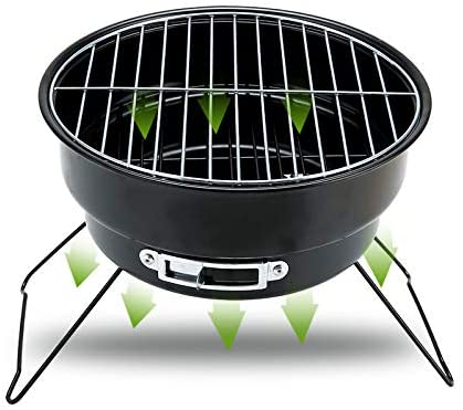 ColourTree Portable Folding Simple BBQ Charcoal Grill Black