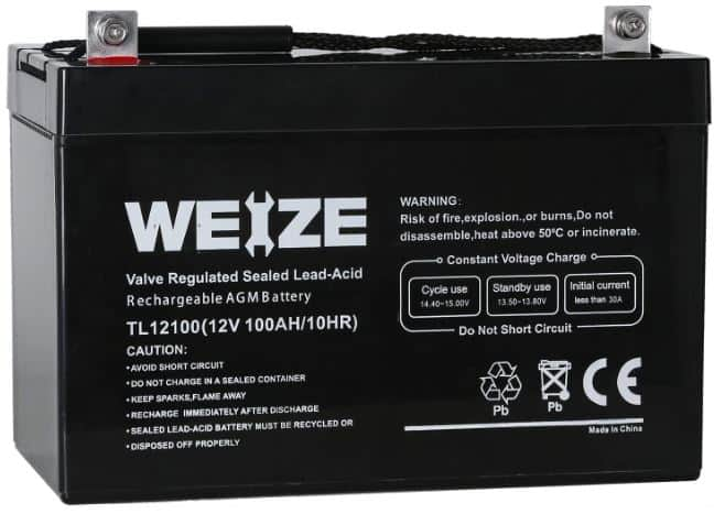 14.  Weize 12V 100AH Deep Cycle Battery