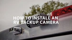 1 black rv backup camera mounted on a roof